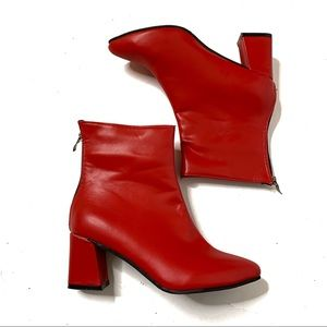 Red Faux Leather Block Heel Booties